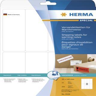 Herma 8326 Warnhinweis Versand-Etiketten 5x14.2 cm (25 Blatt (200