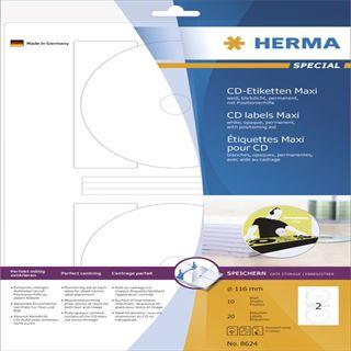 Herma 8624 CD-Etiketten 1.6x1.6 cm (10 Blatt (20 Etiketten))