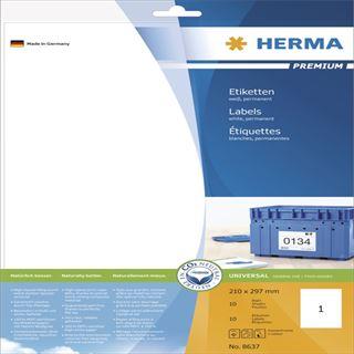 Herma 8637 Premium Universal-Etiketten 21.0x29.7 cm (10 Blatt (10 Etiketten))