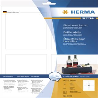 Herma 8882 Flaschenetiketten 9x12 cm (10 Blatt (40 Etiketten))