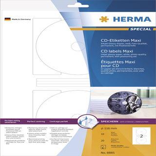 Herma 8885 Maxi CD-Etiketten 11.6x11.6 cm (10 Blatt (20 Etiketten))