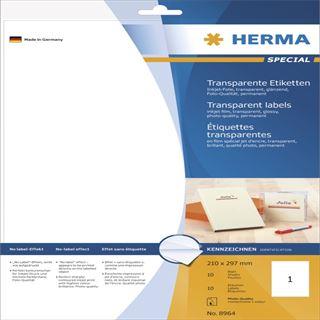 Herma 8964 transparent Inkjet-Folienetiketten 21.0x29.7 cm (10 Blatt