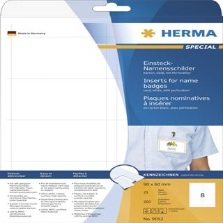 Herma 9012 nicht klebend Namensetiketten 9x6 cm (25 Blatt (200 Etiketten))