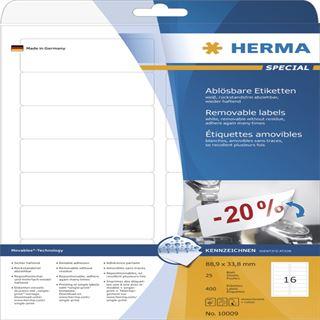 Herma 10009 ablösbar Universal-Etiketten 8.89x3.38 cm (25 Blatt