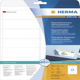 Herma 10016 repositionierbar Adressetiketten 9.91x3.81 cm (25 Blatt (350 Etiketten))