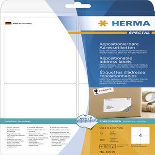 Herma 10019 Adressetiketten 9.91x1.39 cm (25 Blatt (100 Etiketten))