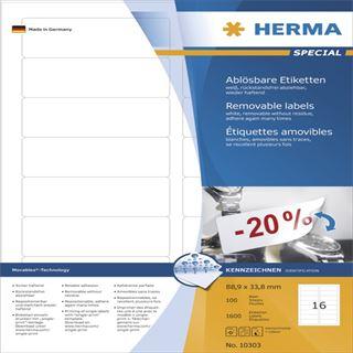Herma 10303 ablösbar Universal-Etiketten 8.89x3.38 cm (100 Blatt