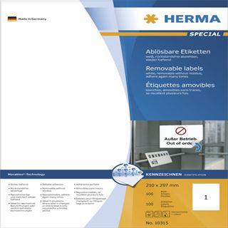 Herma 10315 Universal-Etiketten 21.0x29.7 cm (100 Blatt (100