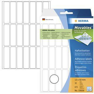 Herma 10606 ablösbar Vielzwecketiketten 1.3x5 cm (32 Blatt (672 Etiketten))