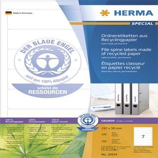 Herma 10834 Recyclingpapier Ordneretiketten 19.2x3.8 cm (100 Blatt (700 Etiketten))
