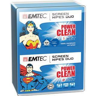 EMTEC Duo-Tücher Superman & Wonder Woman elektronische Geräte Reinigungstuch 20 Stück (ECCLWIPEDUO)