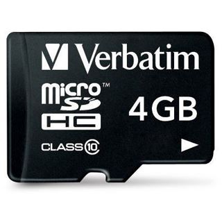 4 GB Verbatim microSDHC Class 10 Retail inkl. Adapter auf SD
