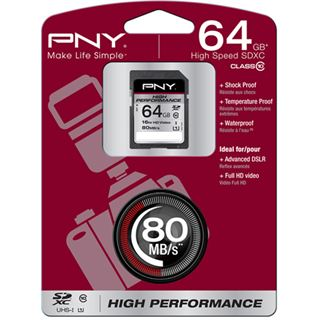 64 GB PNY High Performance SD64G10HIGPER80-EF SDHC Class 10 Retail