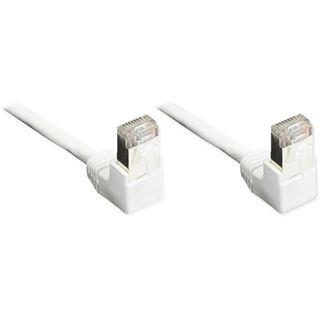 1.00m Good Connections Cat. 5e Patchkabel U/UTP RJ45 Stecker gewinkelt auf RJ45 Stecker gewinkelt Weiß Knickschutzelement