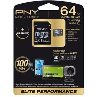 64 GB PNY Elite Performance microSDXC UHS-I Retail inkl. Adapter auf SD