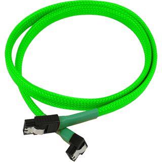Nanoxia 60 cm sleeved abgewinkeltes neon grünes Verbindungskabel für SATA 3.0 (NXS6G60NG)