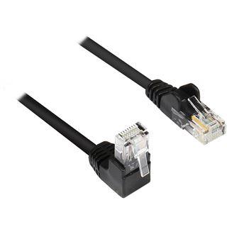 5.00m Good Connections Cat. 5e Patchkabel U/UTP RJ45 Stecker gewinkelt auf RJ45 Stecker Schwarz Knickschutzelement