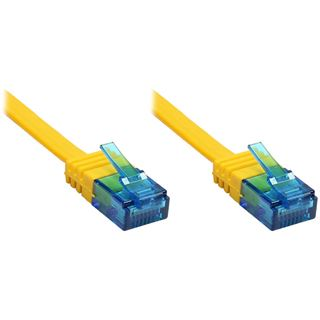 (€2,45*/1m) 2.00m Good Connections Cat. 6a Patchkabel flach U/UTP RJ45 Stecker auf RJ45 Stecker Gelb vergoldet