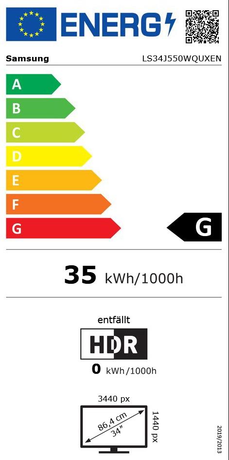 "34"" (86,36cm) Samsung Serie 5 LS34J550 Dunkelblaugrau 3440x1440"
