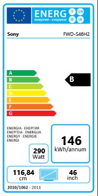 """46"""" (116,84cm) Sony FWD-S46H2 schwarz 1920x1080 1xHDMI 1.3/1xKomponenten (YUV)"""