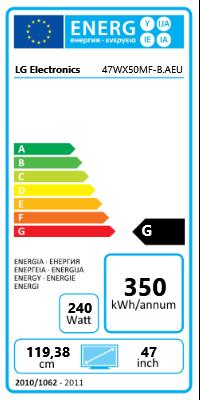 "47"" (119,38cm) LG Electronics 47WX50MF schwarz 1920x1080 HDMI/1xComposite/VGA/DVI-D/DisplayPort/seriell"