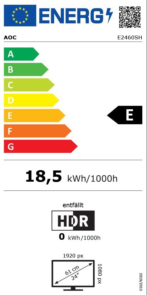 """24"""" (60,96cm) AOC e2460Sh schwarz 1920x1080 DVI-D / HDMI / VGA"""