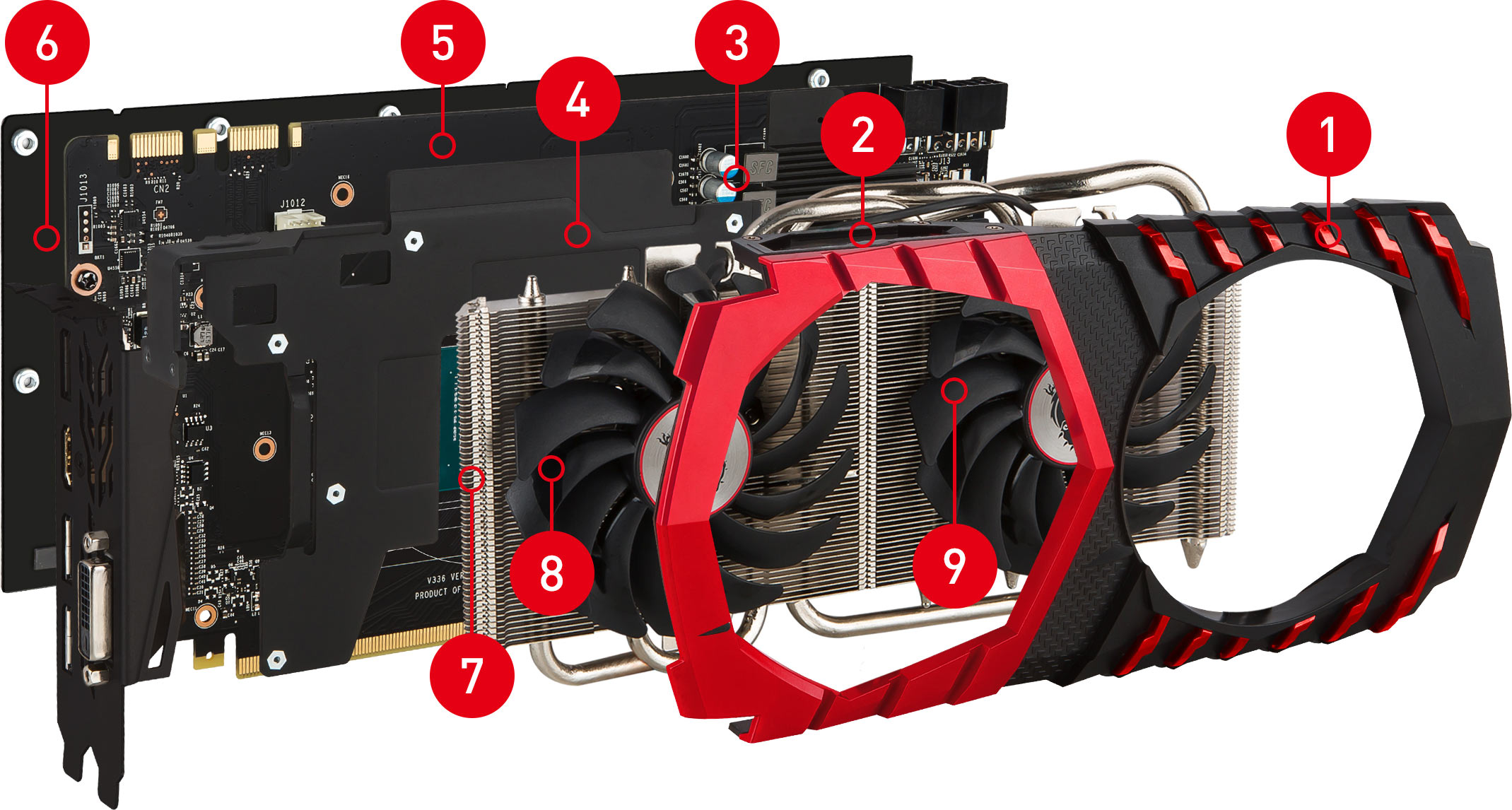 GTX 1060 GAMING X 8G exploded view