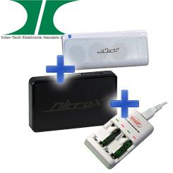 Inter-Tech Bundle: Bluetooth Lautsprecher M9 + MeeBox M200 + Batterieladegerät CT-515