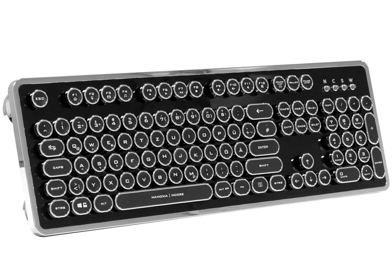 Nanoxia Ncore Retro Kailh White USB Deutsch schwarz/silber (kabelgebunden)