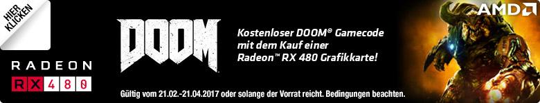 Kostenloser DOOM® Gamecode mit dem Kauf einer Radeon™ RX 480 Grafikkarte!