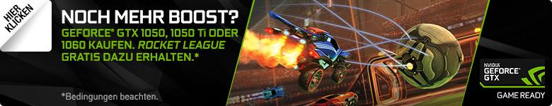 Kostenloser Gamecode für Rocket League beim Kauf einer GeForce® GTX™ 1050, 1050 Ti oder 1060 Grafikkarte