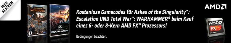 Kostenlose Gamecodes für Ashes of the Singularity™: Escalation UND Total War™: WARHAMMER® beim Kauf eines 6- oder 8-Kern AMD FX™