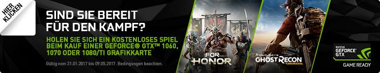 Sind Sie bereit für den Kampf? - Gratis Spielecode beim Kauf einer Aktionsgrafikkarte der NVIDIA Geforce GTX 1070 oder 1080 Serie.